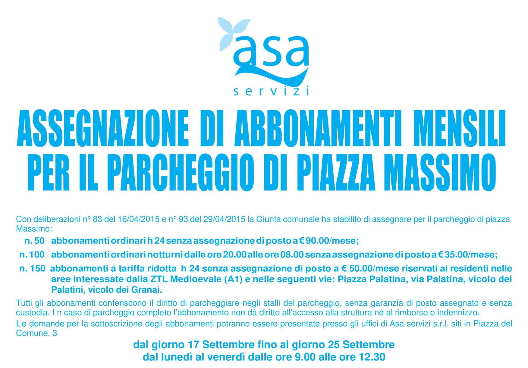 Manifesto bando 2020 Parcheggi piazza Massimo