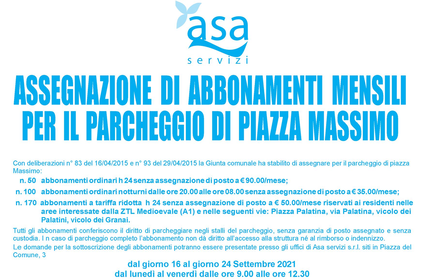 Manifesto Bando Piazza Massimo 2021